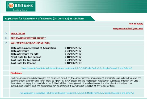 bank recruitment forms