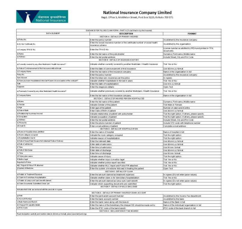 National Insurance Company Mediclaim Claim Form - 2020 ...